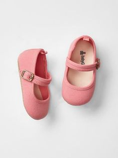 bb745de49b81 GAP Baby Girl Size 0-3 Months NWT Pink Mary Jane Canvas Flats Shoes
