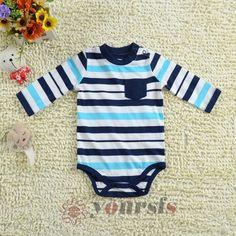 3M 6M 9M Baby Boy Rompers Infant Toddler Color Striped Long Sleeved Bodysuits | eBay