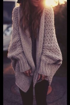 Over sized knitted jumper cardigan/ winter fashion