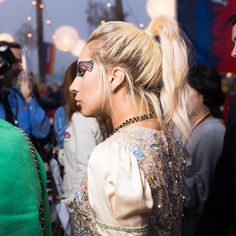 Lady Gaga Wears Sequined Hot Pants at Tommy Hilfiger's Los Angeles Fashion Show - Vogue