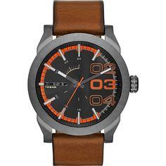 3e51ff34473f Diesel Men s DZ1680 Double Down 46 Brown Leather Watch