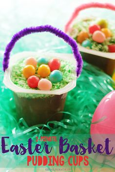Kids love making this cheerful Easter Basket Pudding Cup snack! Festive enough for Easter or just a fun spring day.