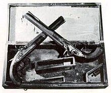 July 11, 1804: Hamilton-Burr Duel. Vice President Aaron Burr fatally shot former Secretary of the Treasury Alexander Hamilton in a duel at Weehawken, New Jersey. No one knows who fired first, since the seconds had their backs turned so that they would not witness an illegal act. These are the Wogdon pistols used in the duel. They had an secret hair-trigger feature, which should have given Hamilton (who furnished them) an advantage, but they may actually have caused him to misfire.