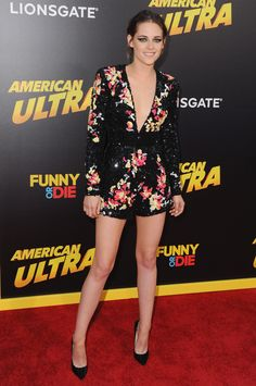 Who: Kristen Stewart When: August 18, 2015 Why: Attending the premiere of her latest film, American Ultra, Kristen Stewart stepped onto the red carpet in a sequined jumpsuit by Zuhair Muhad. The plunging neckline and short inseam flatter her, but not nearly as well as this uncharacteristic smile and her date (and former costar), Taylor Lautner. - ELLE.com