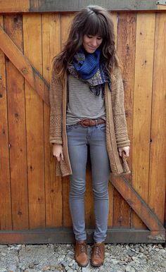 gray on gray + tan cardigan + blue scarf + brown shoes and belt