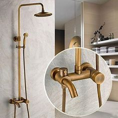 Traditional Shower System Rain Shower Handshower Included with Ceramic Valve Single Handle Three Holes for Antique Brass , Shower Faucet 2556225 2017 – $219.29