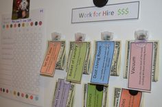 Great chart system for kids to earn extra money once their regular chores are done! Sept & Oct are the BEST times to start chore charts again! Chore Chart Kids, Chore Charts, Behavior Charts, Goal Charts, Kids Behavior, Chore System, Chore Board, Work For Hire, Chore List