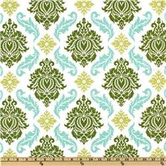 Aviary 2 Damask Dill - love the green and turquoise together in this one! My two favorite colors.