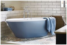 a beautiful freestanding sensuelle bath painted in matching peacock blue creates a stunning focal point. Furniture, Bathroom Furniture, Main Bathroom, Colours, Peacock Blue, Bathroom Colors, Bath Shower Screens, Shower Screen, Bath Paint