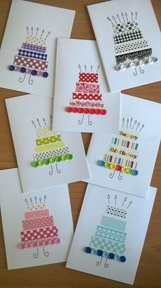 diy birthday decorations for women Slim Fit Jeans fr Damen Famous Last DIY Washi Tape Decorating Ideas Fabric Cards, Paper Cards, Diy Cards, Diy Wedding Cards, Handmade Birthday Cards, Happy Birthday Cards, Greeting Cards Handmade, Simple Handmade Cards, Simple Birthday Cards