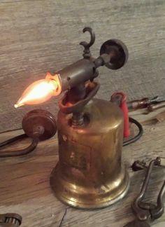 Vintage Industrial Age Steam Punk Blow Torch Lamp