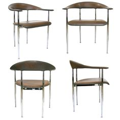 Set of 4 Italian Arm Chairs by G.Vegni+G.Gualtierotti (GMD#2905)