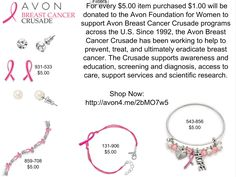 http://avon4.me/2bMO7w5 Your purchase of these Pink Ribbon Jewelry items donate $1.00 each to the Avon Foundation for Women to fun programs devoted to ending Breast Cancer.  #Avon #BCA #BreastCancer #BreastCancerAwareness #PinkRibbon #JewelryforaCause