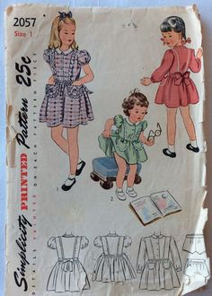 Simplicity 2057 vintage 1940's girls dress by RuralRetroTreasures
