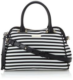 kate spade new york Charles Street Stripe Mini Audrey Top Handle Bag Black/Clotted Cream �