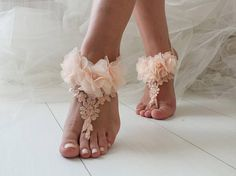 EXPRESS SHIPPING Salmon Peach Barefoot Sandals Lace Barefoot