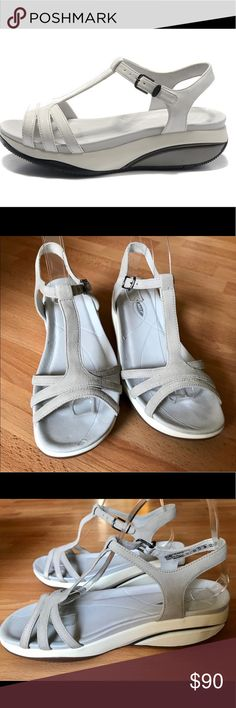 NWOT MBT Sadiki Sandal Size 38/7 US $186 NWOT MBT Women's Sandals Sadiki White Shoes $186 us size 7, EU size 38. No box.   The Sadiki sandals from MBT have a strong sole curve, medium midsole height, strong balancing area & a sensor w/lateral & medial heel clip for increased instability. MBTs stimulate the postural & stabilising musculature of the whole body. The revolutionary sole construction places the body in a natural instability which activates the body's muscle system - White…
