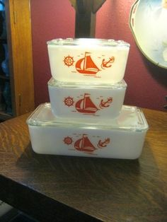 McKee Glass Refrigerator Dishes with Sailboat Design