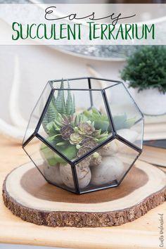 Easy and beautiful home decor. Love this easy DIY Succulent Terrarium.