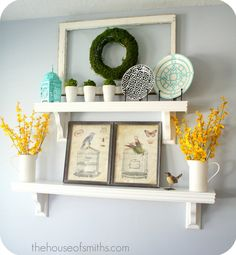 Our Home Tour - Kitchen and Living Room Use this as mantel and change decor with seasons!