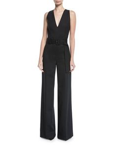 Belted V-Neck Wide-Leg Wool-Blend Jumpsuit by Theory at Neiman Marcus.