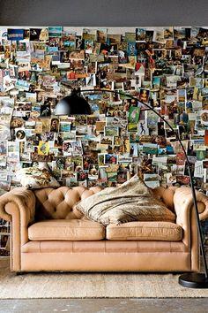 College dorm room decor idea? Photo wall paper. incredible. so many memories. i love clutterrrrr. ;)