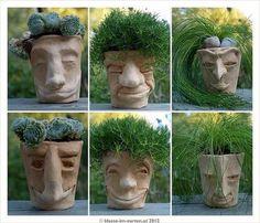 face, head pots / planters - Kopftöpfe by Motz-Ker