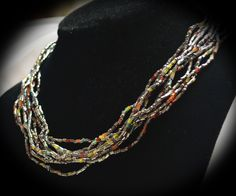 Jewelry Necklace 9 strands seed beads,orange,red,green,silver,pewter,amber,yellow,blue,gunmetal grey with matching earrings by BarbsBurntTree on Etsy