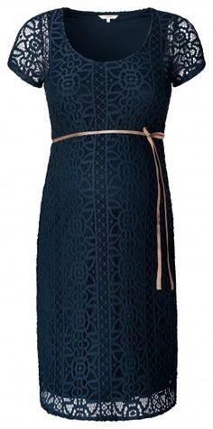 Tehotenské krajkové šaty s krátkym rukávom NOPPIES - tmavo modrá Odevy 3825947da8