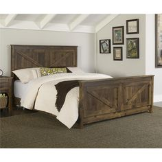 The Altra Farmington Queen Bed adds a unique touch to your bedroom. The farmhouse style brings a sense of history and old-fashioned charm to any room. Made in the USA.