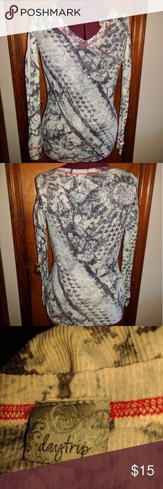 Daytrip Long Sleeve V Neck Tee Shirt Red stitching. Bust 28, shoulder to shoulder 14, sleeve length 23, front length 25.75. Daytrip Tops Tees - Long Sleeve