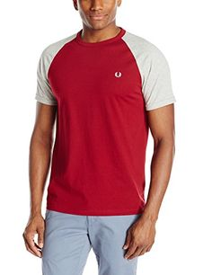 Fred Perry Mens Raglan Ringer T-Shirt, Rosso/Stone Marl, Large