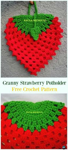 Crochet Granny Strawberry Potholder Free Pattern- #Crochet; # Potholder Hotpad Free Patterns