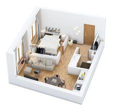 Apartment design plan loft 36 ideas - Home & DIY Studio Apartment Floor Plans, Studio Apartment Layout, Small Studio Apartments, Small Apartment Interior, Small Apartment Design, Studio Apartment Decorating, Minimal Apartment, Modern Apartments, Studio Layout