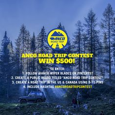 Planning a summer #roadtrip? You could win $500! Find out how to enter today: http://ancowipers.com/road-trip/rules-pinterest  #ANCORoadTripContest