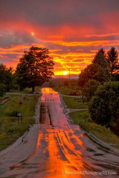 Beautiful sunset road....I can almost smell the rain that just was.