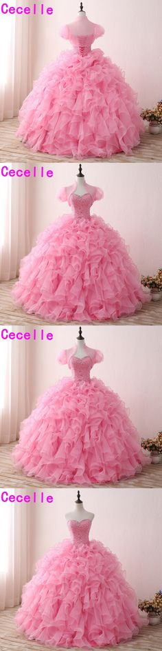 2017 New Pink Ball Gown Princess Long Prom Dresses With Jackets Ruffles Organza Beaded Crystals Teens Formal Prom Gowns Custom
