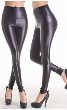 81ade667c5b Fashion Black Faux Leather Leggings