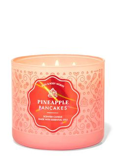 Pineapple Pancakes 3-Wick Candle | Bath & Body Works Buy Candles, 3 Wick Candles, Scented Candles, Pineapple Pancakes, Breakfast In A Jar, Pineapple Gifts, Banana Slice, Bath And Bodyworks, Natural Essential Oils