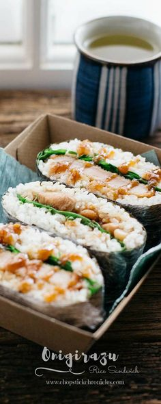 Onigirazu are a perfect Japanese lunch idea. They're so delicious, customisable, and easy to make! They're great to eat on the go! Japanese Lunch, Japanese Dishes, Japanese Food, Japanese Recipes, Rice Sandwich, Sandwich Recipes, Asian Recipes, Healthy Recipes, Ethnic Recipes