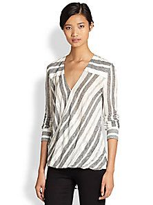 10 Crosby Derek Lam - Draped Crossover Striped Voile Shirt