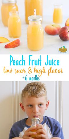 Homemade Fruit Juice - Peach. There is nothing better than the velvety smooth texture of a fruit juice made from the pulp of fruit and with only the addition of water, maple syrup and a squeeze of juice! Served cold is simply the best!