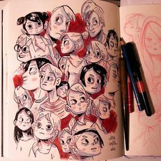 Sketchbook,Early 2015 on Behance Cartoon Kunst, Cartoon Drawings, Cartoon Art, Drawing Sketches, Arte Sketchbook, Sketchbook Pages, Amazing Drawings, Cool Drawings, Buch Design
