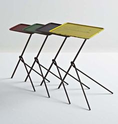 Mathieu Matégot; Painted and Perforated Metal Nesting Tables, 1953.