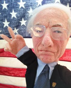 """needle felted Bernie Sanders """"Peace Out"""" by Laura Lee Burch"""