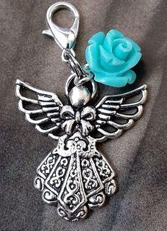 Silver Guardian Love Angel Flower Rose Clip on Charm Pendant Antique Silver  #Amoretti #Pendant