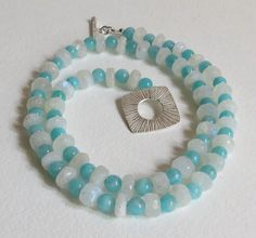 Amazonite Necklace with Moonstone and Sterling by Smokeylady54