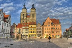 Great shot of the City Church towers as seen from the market in Lutherstadt Wittenberg.