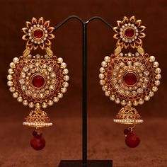 Anvi's gorgeous rubies, polki pearl ear danglers with jhumkas