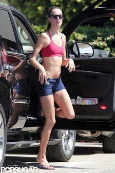 Alessandra Ambrosio in a sports bra ready for yoga :)